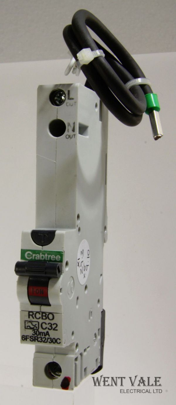 Crabtree Loadstar - 6FSR32/30C - 32a 30mA Type C Single Pole RCBO Used